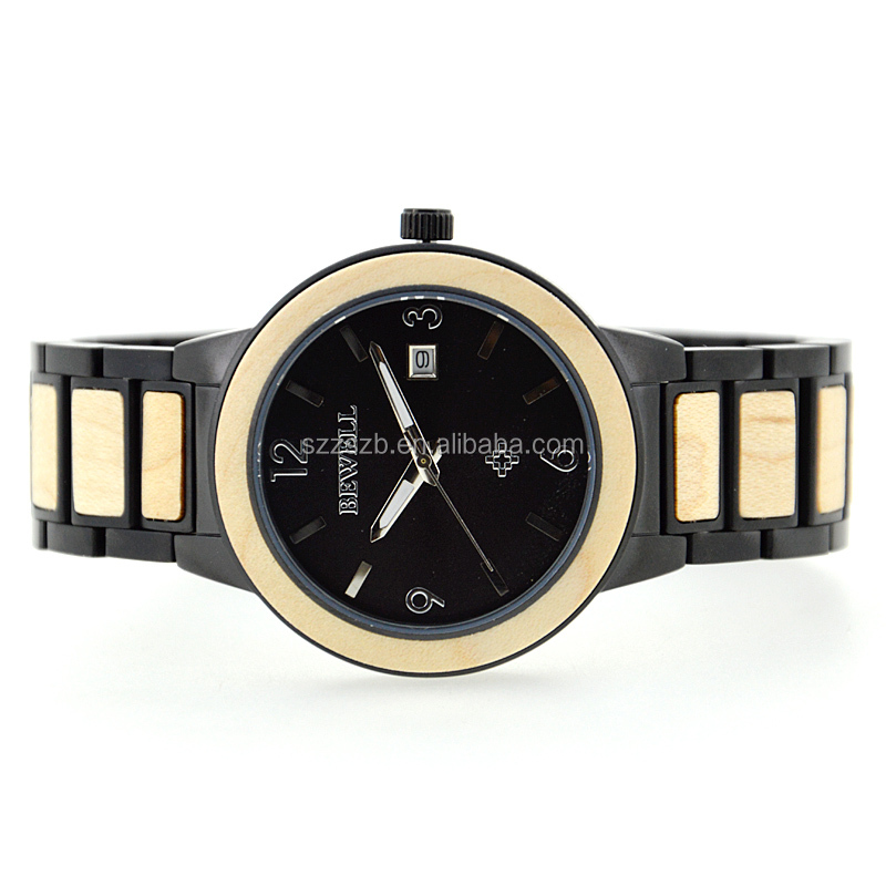 Elengent luxury classic business stainless steel&wood watch for men wth high quality.