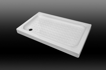 DOMO White Solid-surface Rectangular Acrylic Anti-slip Shower Tray/base