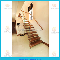Invisible stringer wood tread stair/staircase/stairway