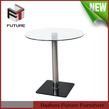 round glass and stainless steel pipe high end dining table