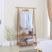 Bamboo Clothes Rack Portable Extra Large Garment Rack 2-Tire Storage Box Shelves For Entryway and Bed Room