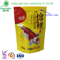 Custom Logo Plastic Aluminum Foil Lined Packaging Zip Lock Fish Feed Bag /Printed pet food stand up pouch for fish food