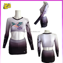 wholesale custom sublimated crop top and skirt cheerleading uniform with factory wholesale price