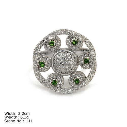 [RZQ-0176] 925 Silver Jewelry Ring with CZ Stones with Green Color Stones Modern Silver Ring