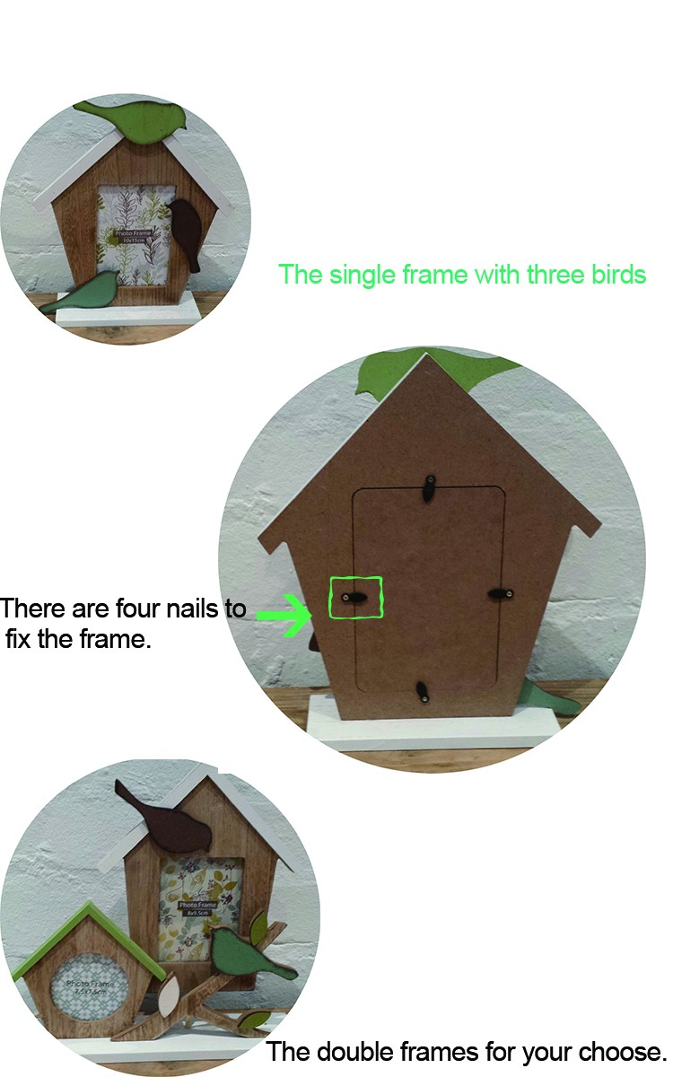 Handmade Home Decor Rustic Wooden Bird House Picture Frame