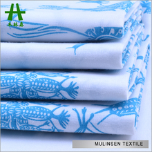 Mulinsen Textile White And Blue Design Woven Poplin TC Fabric Printed For Dress