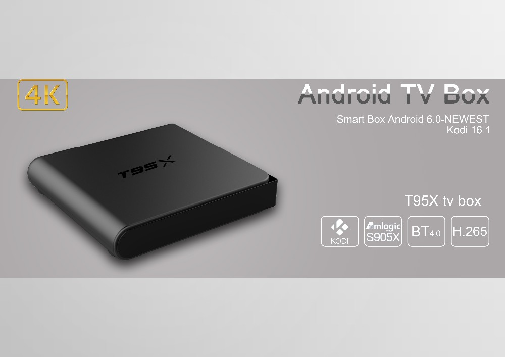 Android t95x s905x quad core tv box 4k set top box 2G/8G 64 bit Amlogic S905x tv box from Shenzhen