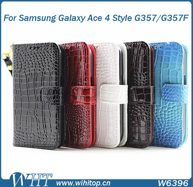 Crocodile Skin Wallet PC+PU Leather Flip Case for Samsung Galaxy Ace 4 Style G357/G357 F, with Hand Chain Function