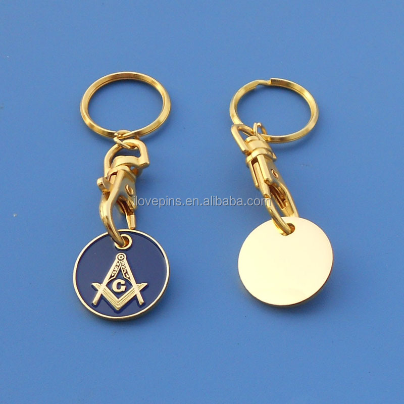 custom metal embossed logo masonic keychain, gold plating free-mason trolly coin