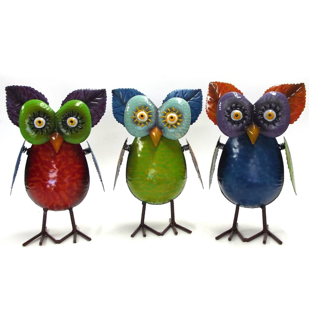 Owl Ornament Statue Metal Bird Garden Sculpture,Mix Colors Owl Sculpture Iron Art