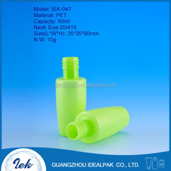PET plastic bottles neck size 20/415 green perfume bottle 50 ml