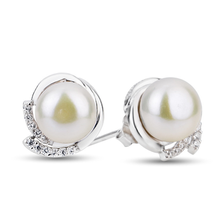Fashion 925 Sterling Silver Jewelry White Freshwater Pearl Stud Earings