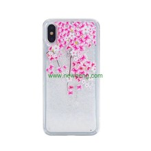 Mobile Phone Accessories soft edge Flower Floral Glitter Liquid Case for iPhone X