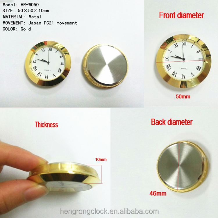 2 inches metal clock insert 50mm new design quartz gold metal insert clock insert watch japan pc21 movement 50mm quartz watch