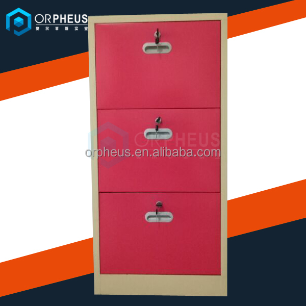Room furniture red steel simple design 3 door steel shoe cabinet