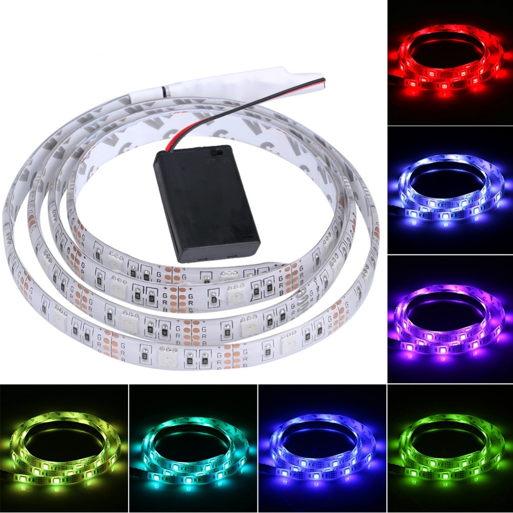 Battery LED Strip 3528 RGB 5V Black PCB Tape Lighting DIY Home Decorative Lamp With Battery Box