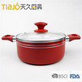 Aluminum non-stick ceramic coating dotch oven as TV show cookware with 2 bakelite handle