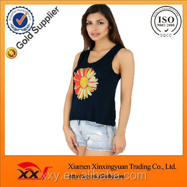 High quality new design women bamboo printed tank tops wholesale in bulk