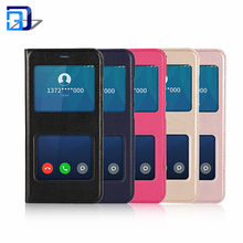 Top Selling Premium View Window Magnetic Closure Slim PU Leather Smart Flip Phone Case For Xiaomi Mi 6