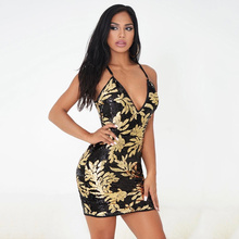 Women Summer Sequin Sexy V Neck Short Bodycon Beach Mesh Vestidos Evening Prom Dress