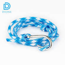 Fashion Jewelry Wholesale Nylon String Anchor Paracord Leather Polyester Bracelet Fish Hook Bracelet