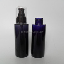 cosmetic dark violet black cylinder 50ml lotion glass bottle with black pump