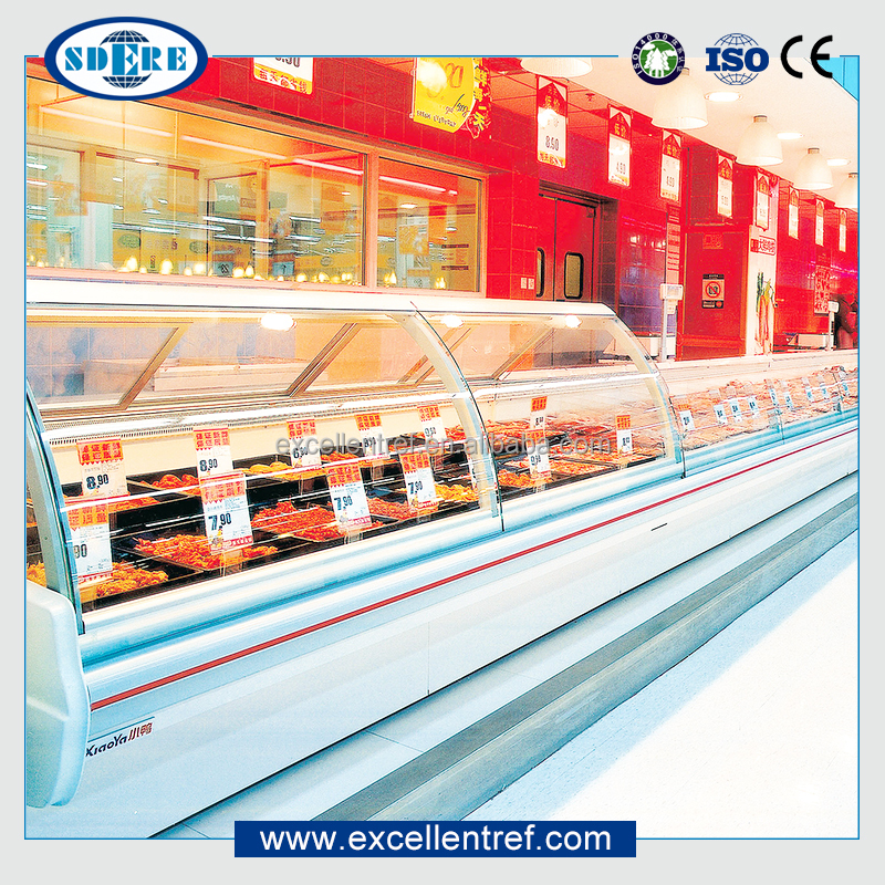 table top counter refrigerated meat display case used in supermarket
