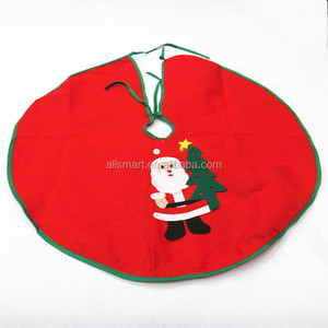 Wholesale customize 60 cm red christmas tree skirt with green line santa for chritsmas decoration