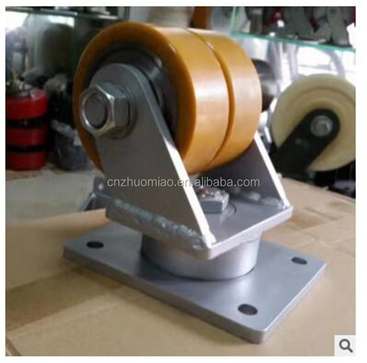 New product dual yellow PU on silver iron stand swivel total lock one piece 2 ton heavy duty caster wheels