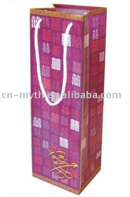 Paper wine bag with handle