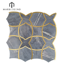 best selling product beautiful waterjet mosaic marble inlay flooring design