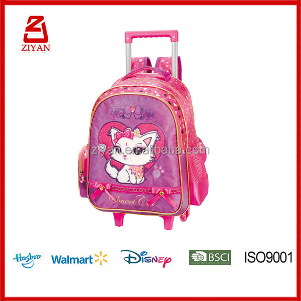 2016 kids cute large capacity trolley school bags with wheels for girls