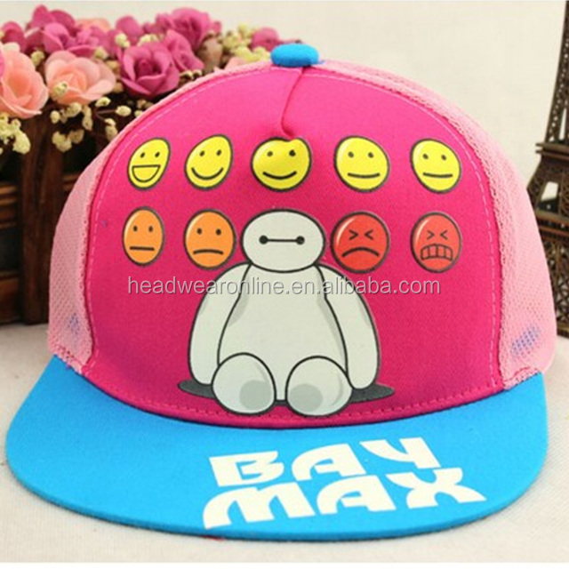 The new children's net cap in summer Smiling face flat along the hip-hop baseball hat Children's sun hat
