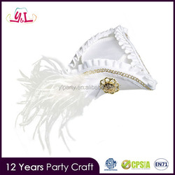 2017 New Premium White Mini Tricorn Cocktail Hat Feather Pirate Fascinator Costume Burlesque Gold Pattern Pirate Hats