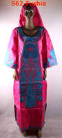 indian embroidered clothes bazin lady dress of S62-fushia
