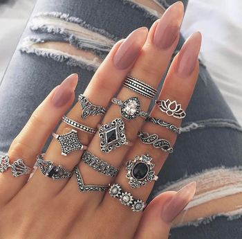 15pc/set ring carved Cubic zirconia ring set ladies retro boho fingertips party ring girl punk jewelry gift