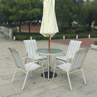 White Outdoor Garden Balcony Aluminum Sling Fabric Patio Furniture Table Chair Set