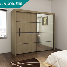 High quality bedroom wardrobe with mirror design in sliding 2 door fittings system laminate designs