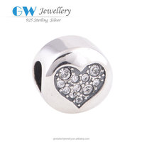 Clear CZ Stones Crystal Jewelry 925 Sterling Silver Love Heart Beads Whole Sale Beads