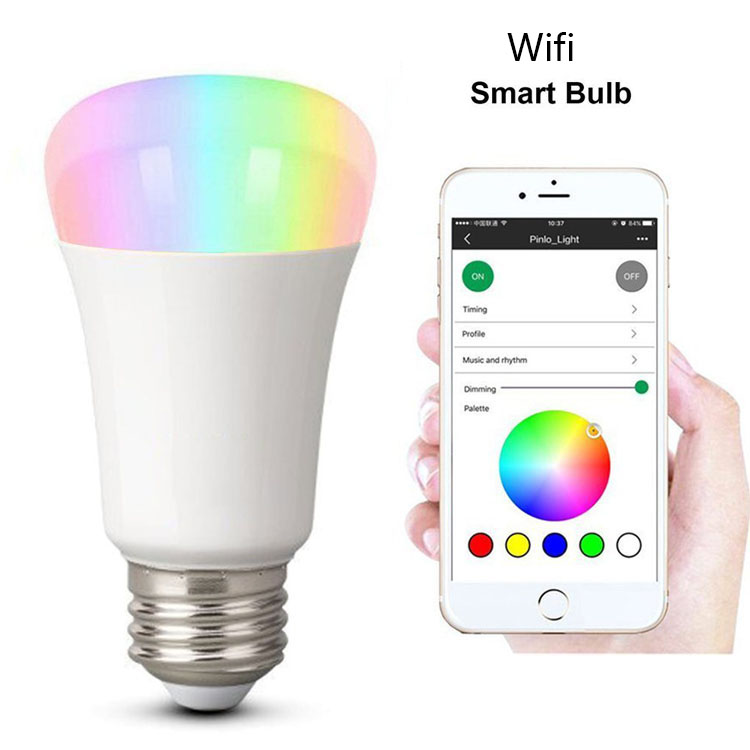 Smart Phone App Voice Controls Wireless Wifi bulb 60w Equivalent dimmable multi-color rgb led light bulb with remote controller
