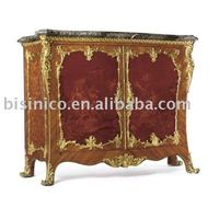 Louis XV Style Gilt-Bronze Mounted Marquetry Commode with a Serpentine Marble Top