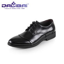 Business Black Pointed Toe Genuine Leather Dress Flat Men Shoes
