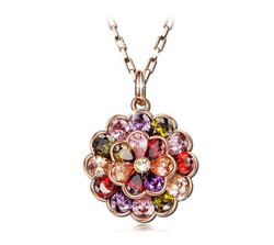 Latest Fashion Rose Gold Plated Multicolor CZ Brass Pendant