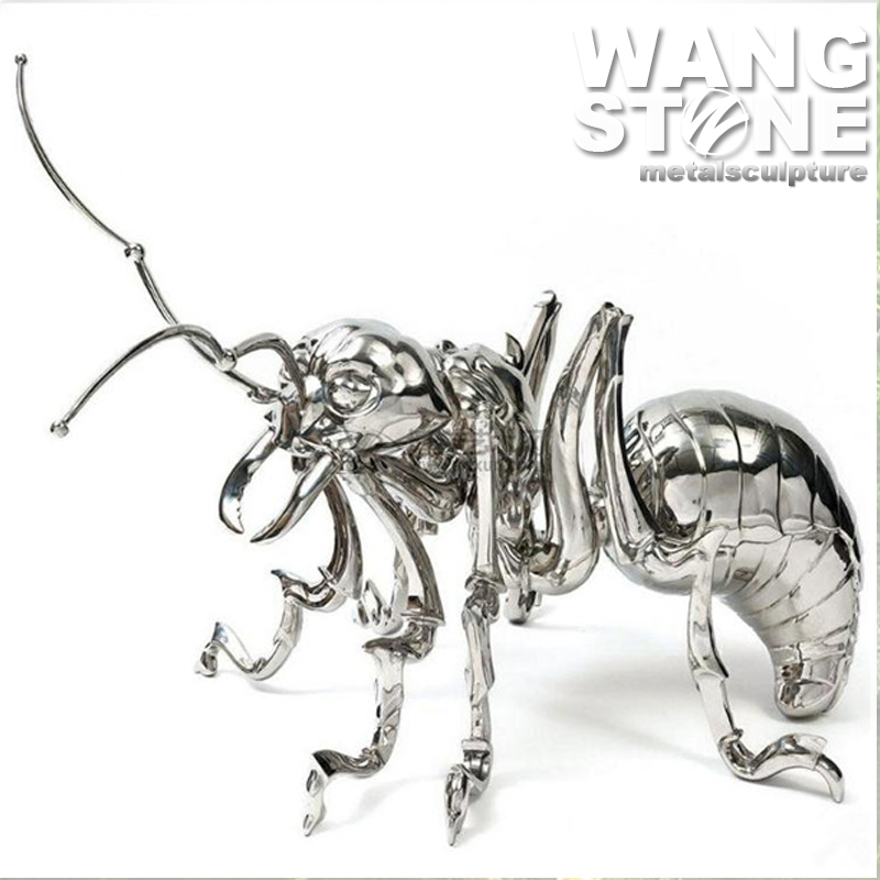 Modern Metal Ornaments Stainless Steel Decorative Ant Sculpture