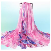 2016 summer new 100%polyester chiffon digital printed flower butterfly scarf for lady,Chiffon Printed Large Long Scarf Shawl