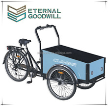 High quality three wheel cargo bike/cargo tricycle/reverse trike UB9027 with wooden box for sale