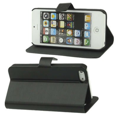 Brushed Texture Horizontal Holder Leather Case for iPhone 5 (Black)