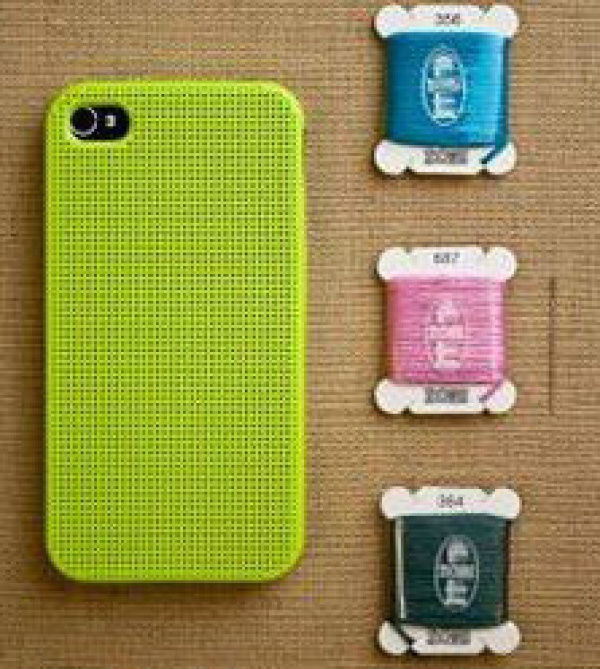 Free sample cross-stitched embroidery phone case for silicon iphone 4 cases