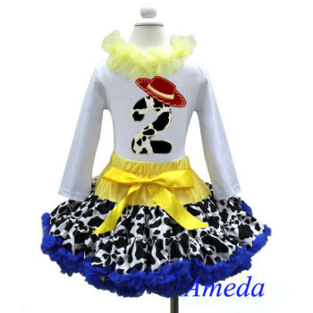 2nd Birthday Cowgirl Pettiskirt Red Hat White Long Sleeves Top 2pcs Party Dress 1-7Y
