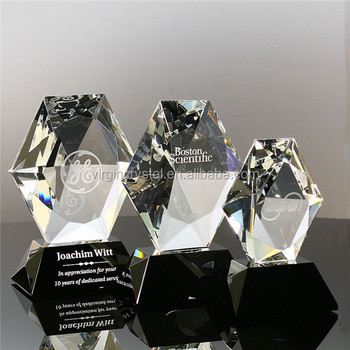 3d laser engraving crystal hexagon music trophy award with black base